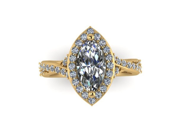 Marquise Engagement Ring Diamond Vintage Wedding Ring Yellow
