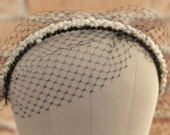 Birdcage veil headband, pearl beads headband-----v212