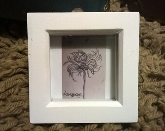 3x3 white box framed ink sketch, print from original, framed drawing, autumn thistle flower seeds