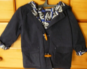 Boys Hooded Coat - Navy Duffle  with toggle closure
