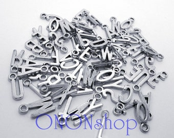 Metal Letter Charms, 78 pieces, Bead Landing, Metal alphabet letters, metal alpha letters, Hash necklace charm HHH ON ON H3 on-on