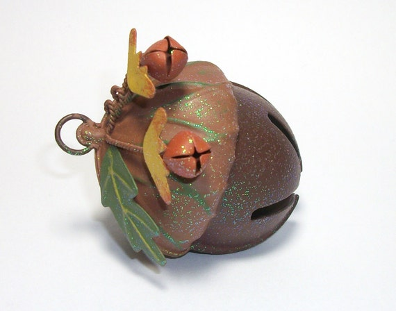 Large metal acorn jingle bell ornament decoration or by