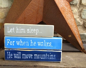 Let Him Sleep   Hand Painted   Stacking blocks   Nursery   Gray   Light Blue   Navy   Rustic decor   Farmhouse Nursey