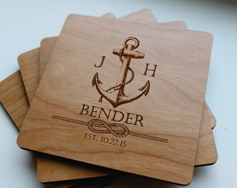 Personalized Wood Coaster Set of 4, Fathers Day, Family Name Established Date, Anchor, Nautical Decor, Monogrammed Gift, Wedding,Anniversary