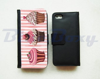 Cupcake Wallet Case for iPhone 7, iPhone 6, iPhone 6s, iPhone 6 Plus, iPhone 5, iPhone 5s, iPhone 4/4s, Leather Wallet Case, Flip Case