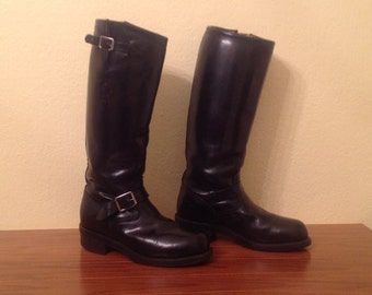 Chippewa 17 quot men black engineer boots made in the usa size 8 1 2 mens
