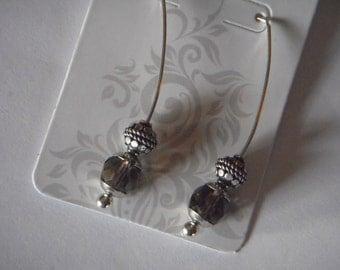 Swarovski crystal and bali silver earrings