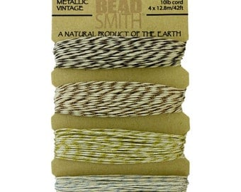 Hemp Cord Metallic Vintage Assortment Card .55mm 10lb Test  (CD6195)