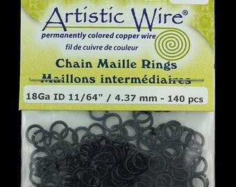 "Artistic Wire Black Jump Ring 4.3mm ID (11/64"") 18ga (pkg/140)  (900AWB-06)"
