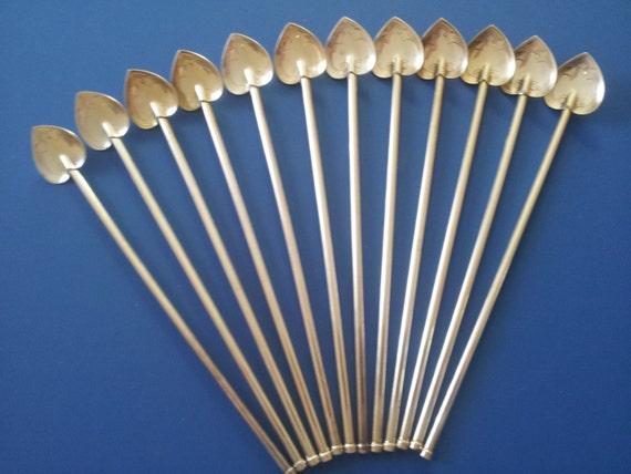 Vintage Sterling Spoon Straws, Art Nouveau Ice Cream Soda Spoons, Heart Spoons