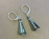25% OFF SALE - Glass Crystal Triangle Drop Earrings