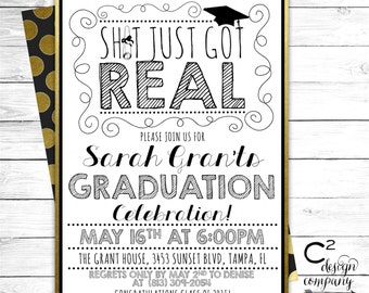 Sh!t Just Got Real Graduation Party Invite