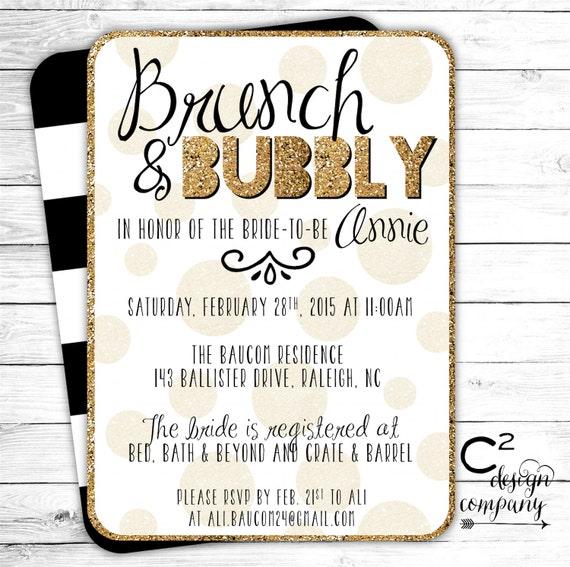 Brunch & Bubbly Bridal Shower Invitation by cSquaredDesignCo