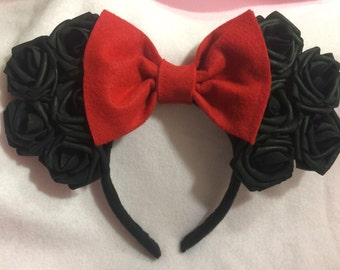 Minnie Mouse Ears (Black Rose)