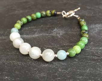 Chrysoprase and Moonstone bracelet in sterling silver, green and white bracelet