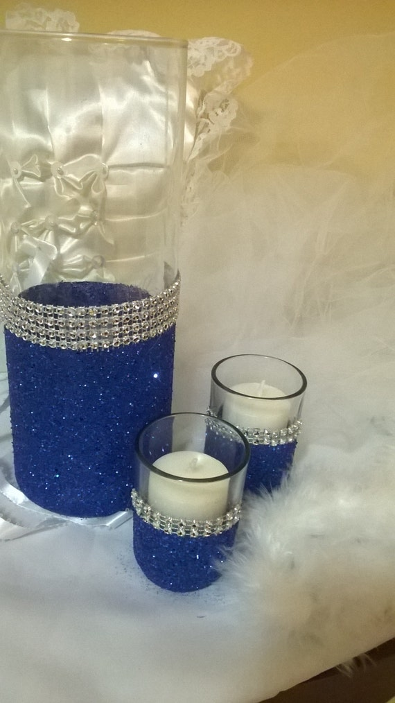 Royal blue glitter vase wedding centerpiece by thesparklebooth