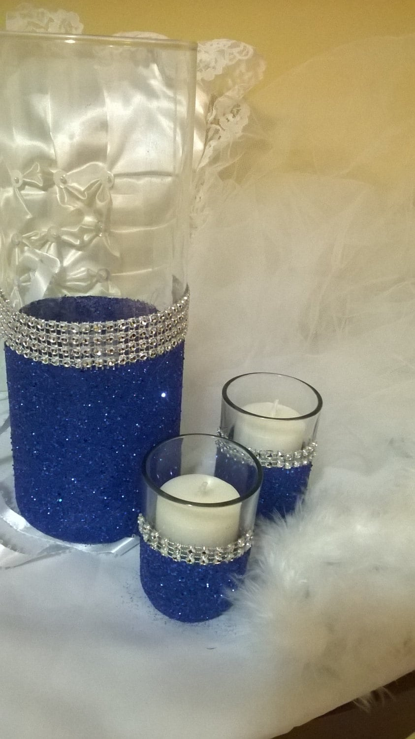 royal blue glitter vase wedding centerpiece by thesparklebooth. Black Bedroom Furniture Sets. Home Design Ideas