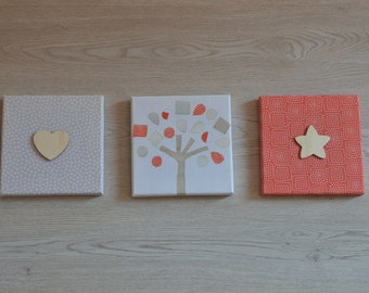 Red and Ivory Wall Decor; Canvas Wall Art; Set of 3 Canvas Prints and Wooden Shapes