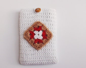 White crochet Phone cozy, gift for birthday, crochet phone case , iPhone Gadget Case,  Cotton iPhone Pouch