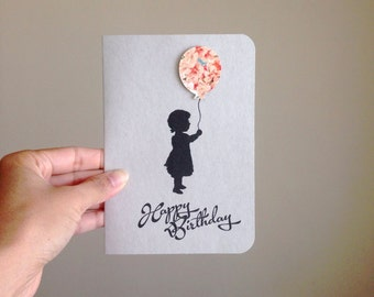 Happy Birthday Card - Girl with a Balloon - Come Fly Away - Kraft Paper, 100% Recycled Post Consumer Paper.
