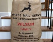 Hessian Santa Bag, Santa Sack, Burlap Christmas Stocking, Express Mail Service with Reindeer, Personalized gift bag for christmas