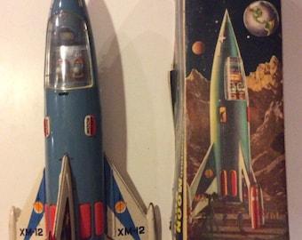 Rare 1956 Tin Moon Rocket XM-12 with Original Box