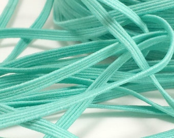 1/8 Aqua green skinny elastic, Wholesale headband elastic by the yard, Baby thin elastic, diy headbands