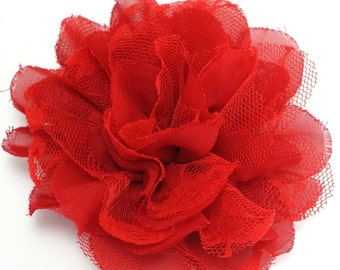 Red chiffon lace flower - Wholesale chiffon fabric flowers - Large flowers for diy hair clip or headband - Christmas flowers