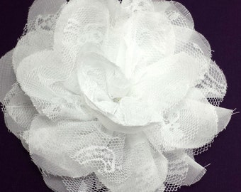 White chiffon lace flower - Wholesale chiffon fabric flowers - Large flowers for diy hair clip or headband - Christmas flowers