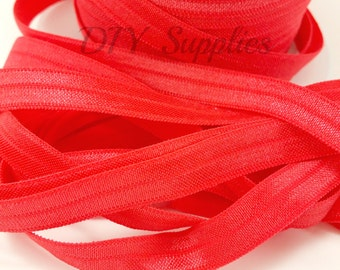 3/8 Red elastic, FOE, Wholesale foldover elastic, headband elastic, fold over elastic, diy hair ties, elastic by the yard