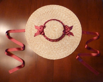 Color Choices! ~ 18th Century Shallow Crown Straw Hat Trimmed w/ Silk Satin Ribbons for Colonial Rev War Reenacting (ACC-H13)