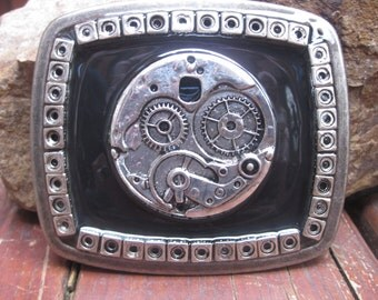 belt buckle embellished belt buckle mens belt buckle  womens rustic black and silver steampunk belt buckle watch gears belt buckle