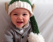 Elf Hat with Ears - Long Tail Elf Hat with Pom Pom - Crochet Elf Hat - Christmas Hat - Photo Prop