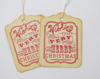 Christmas gift tags in red, Christmas Tags in red , Holiday Tags in red, Christmas hang tags in red, Christmas favor tags in red