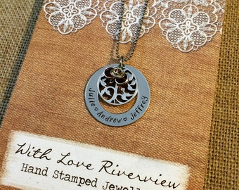 Family tree Stainless steel washer necklace, personalized, hand stamped