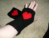 Black Fingerless Mitts, with Red Woven Heart Embellishment, Winter Accessories, Christmas, Valentine Day, Love