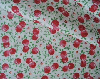 "Fat Quarter of Lecien Old New 30's Collection Cherries on White Background.  Approx. 18"" x 22"" Made in Japan"