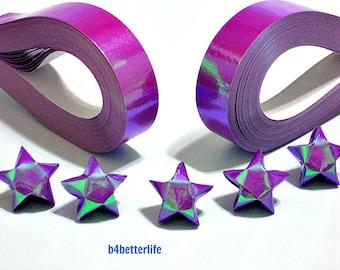 200 strips of Purple Color DIY Origami Lucky Stars Medium Size Paper Folding Kit. 24.5cm x 1.2cm. (AV Paper Series). #SPK-168.