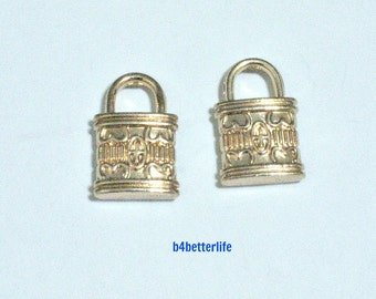 """Lot of 24pcs Double Sided """"Padlock"""" Gold Color Plated Metal Charms. #HY1079."""