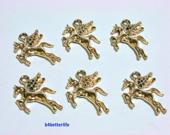 """Lot of 24pcs """"Pegasus"""" Gold Color Plated Metal Charms. #XX479."""