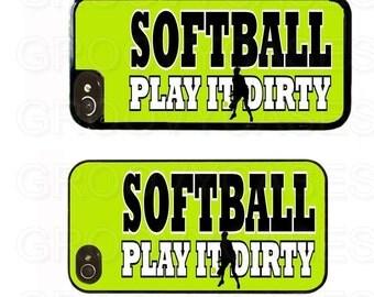 iPhone 4 4s 5 5s 5c SE Case Rubber Softball