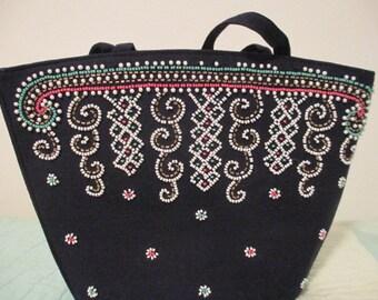 Beaded Navy Handbag