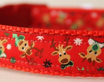 Reindeer Christmas Collar/Seasonal Print Dog Collar/Adjustable/Holiday Pet Accessories