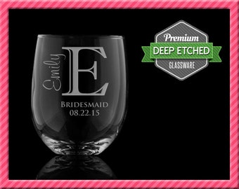 Personalized Stemless Wine Glasses, Bridal Party Gifts, 17 oz, Bridesmaids Gifts - Single initial, Set of 8+, FREE SHIPPING