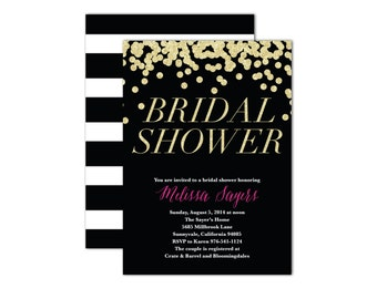 Glitz & Glam Bridal Shower Invitation- Set of 10
