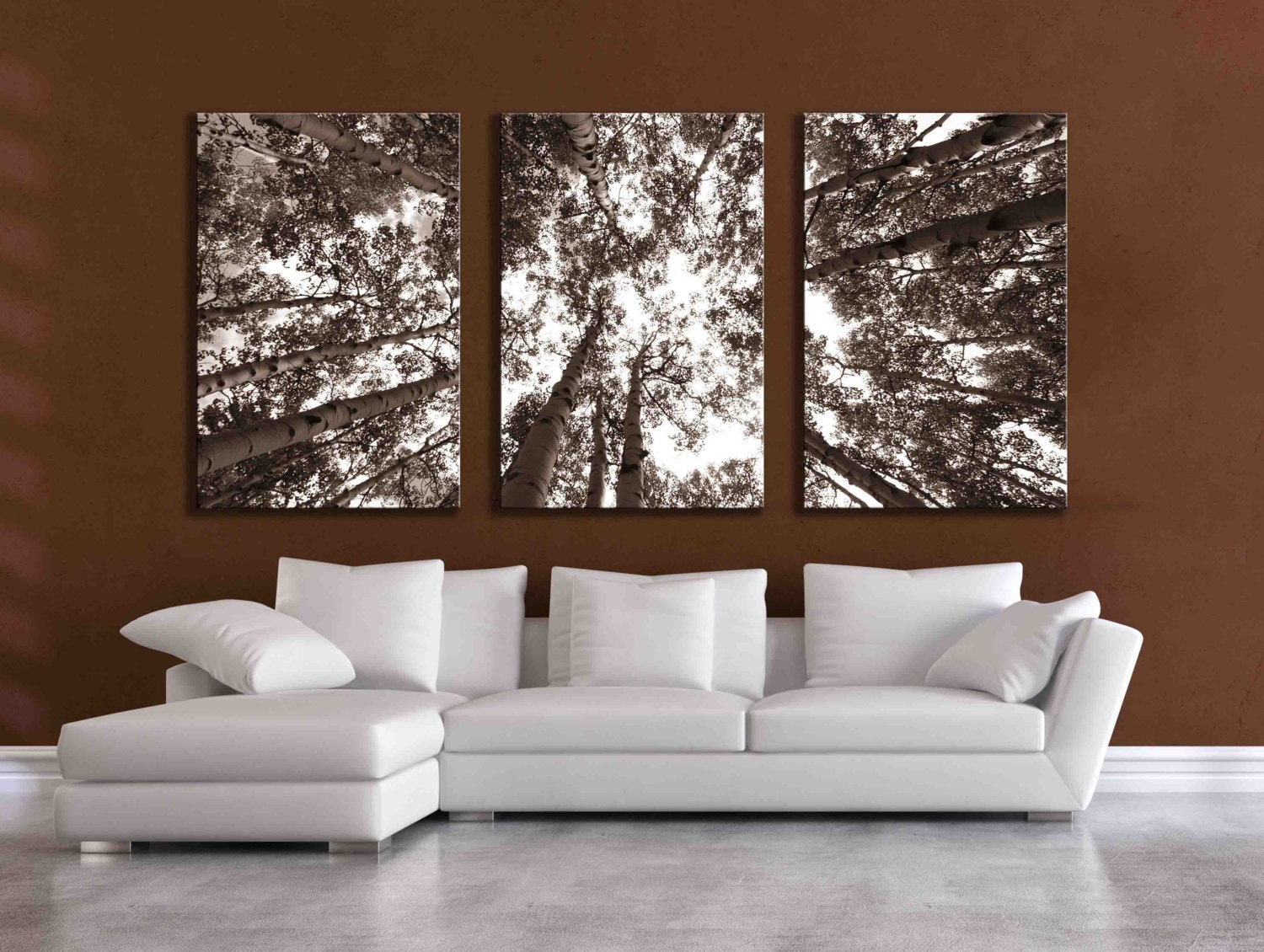 Large M Wall Decor : Three large multi panel wall art aspen inch or