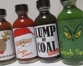 Hot Sauce Grinch Lump of Coal Santa Claus Reindeer Hot Sauce Holiday themed gift set ~ Personalized gift box for clients customers dad