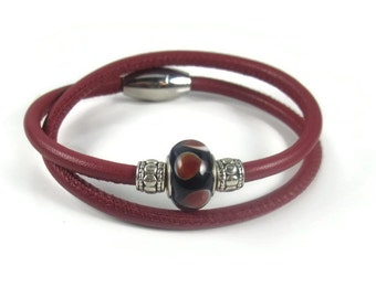 Red Leather Wrap Bracelet, Womens Leather Bracelet, Womens Leather Jewelry, Wrap Leather Bracelet, Leather Charm Bracelet