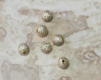 Pave' hand Set Swarovski Crystal Beads, large hole, 10mm Beads
