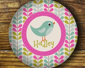 Personalized Melamine Plate- Bird